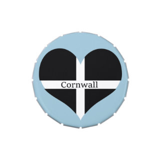 I Love Cornwall St Piran Flag Heart Design Jelly Belly Candy Tin