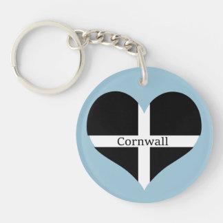 I Love Cornwall St Piran Flag Heart Design Keychain