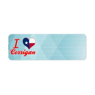 I Love Corrigan, Texas Return Address Labels