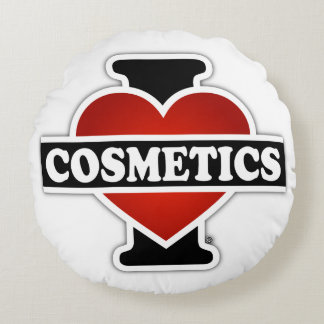 I Love Cosmetics Round Pillow