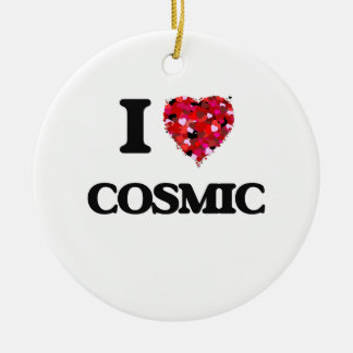 I love Cosmic Double-Sided Ceramic Round Christmas Ornament