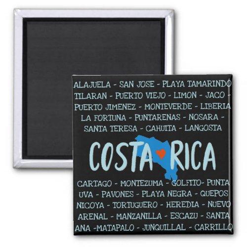 I Love Costa Rica Map Names of Cities Souvenir Magnet