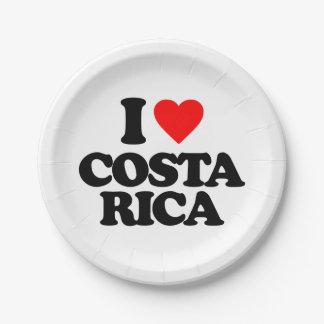 I LOVE COSTA RICA 7 INCH PAPER PLATE