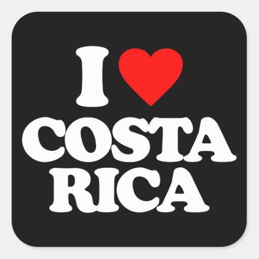 I LOVE COSTA RICA SQUARE STICKERS