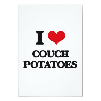 I love Couch Potatoes 3.5x5 Paper Invitation Card