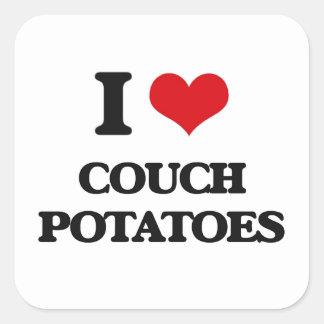 I love Couch Potatoes Square Sticker