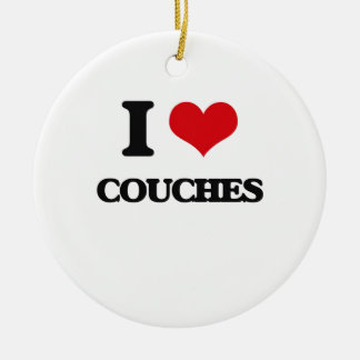 I love Couches Double-Sided Ceramic Round Christmas Ornament