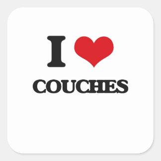 I love Couches Square Sticker