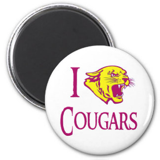 I Love Cougars 2 Inch Round Magnet