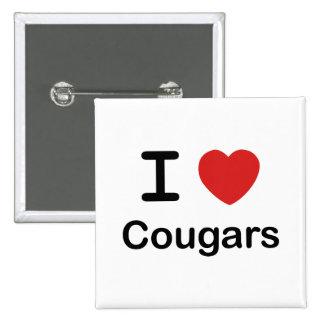 I Love Cougars 2 Inch Square Button