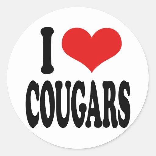 I Love Cougars Classic Round Sticker