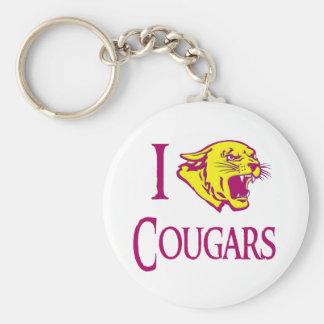 I Love Cougars Key Chain