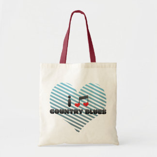 I Love Country Blues Tote Bags