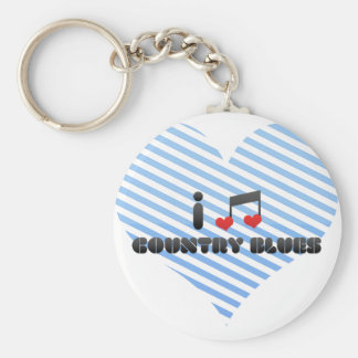 I Love Country Blues Key Chains