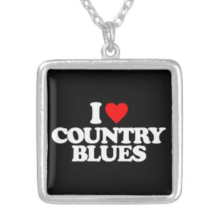 I LOVE COUNTRY BLUES SILVER PLATED NECKLACE