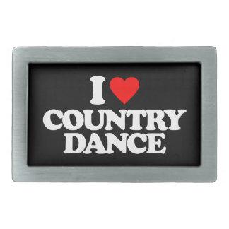 I LOVE COUNTRY DANCE RECTANGULAR BELT BUCKLE