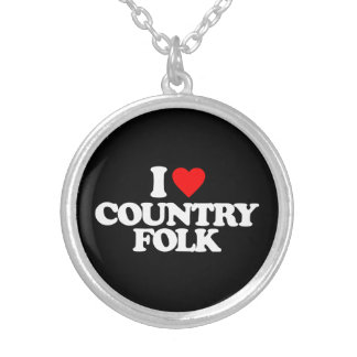 I LOVE COUNTRY FOLK SILVER PLATED NECKLACE