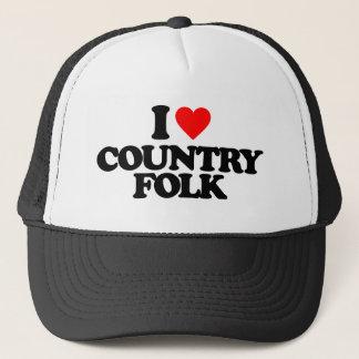 I LOVE COUNTRY FOLK TRUCKER HAT