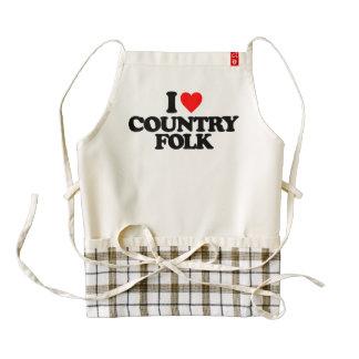 I LOVE COUNTRY FOLK ZAZZLE HEART APRON
