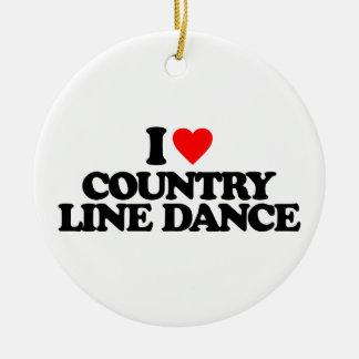 I LOVE COUNTRY LINE DANCE CERAMIC ORNAMENT