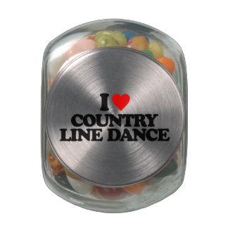 I LOVE COUNTRY LINE DANCE GLASS CANDY JARS
