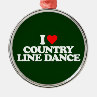 I LOVE COUNTRY LINE DANCE METAL ORNAMENT