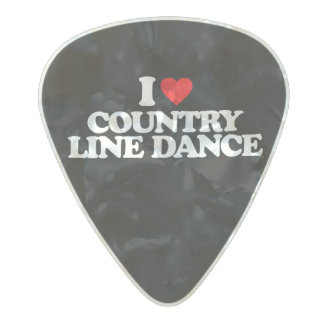 I LOVE COUNTRY LINE DANCE PEARL CELLULOID GUITAR PICK