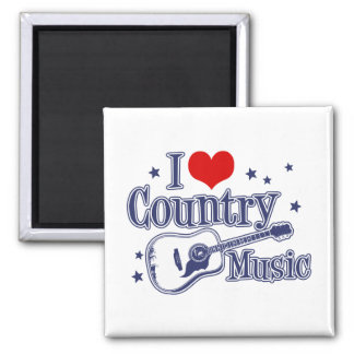 I Love Country Music 2 Inch Square Magnet