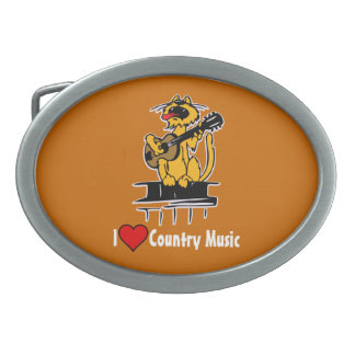 I love Country Music by Kountry Kat Oval Belt Buckle