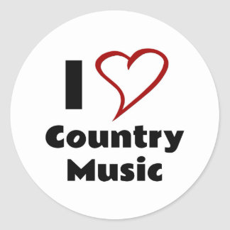 I Love Country Music Classic Round Sticker