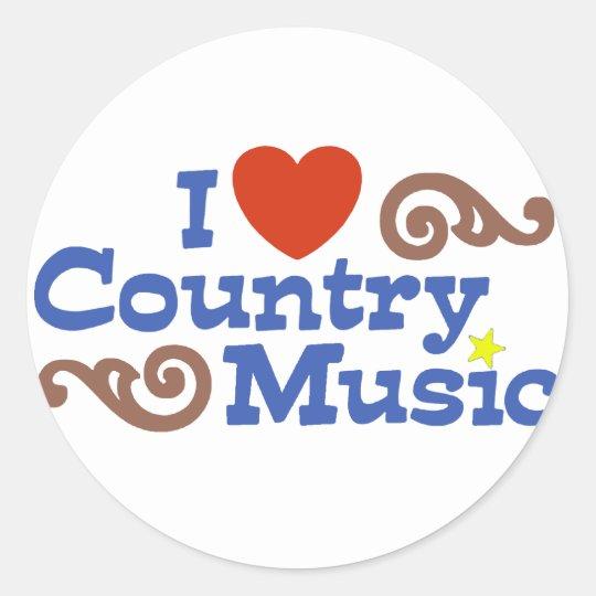 I love Country Music Classic Round Sticker