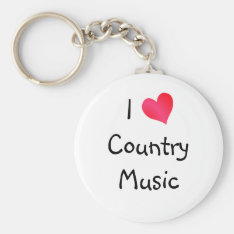 I Love Country Music Keychain at Zazzle