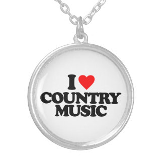 I LOVE COUNTRY MUSIC SILVER PLATED NECKLACE