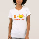 I love country music smiley face with headphones shirt