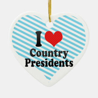 I Love Country Presidents Double-Sided Heart Ceramic Christmas Ornament