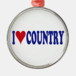 I Love Country Round Metal Christmas Ornament