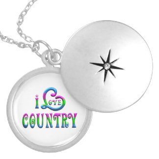 I Love Country Silver Plated Necklace