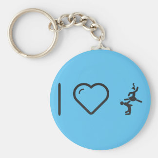 I Love Couple Karates Basic Round Button Keychain
