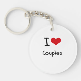 I love Couples Single-Sided Round Acrylic Keychain