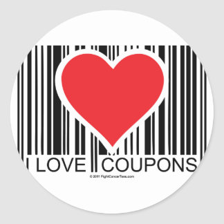 I Love Coupons Classic Round Sticker