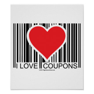 I Love Coupons Poster