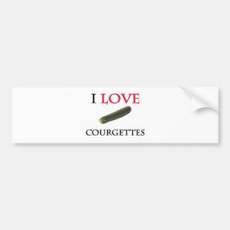 I Love Courgettes Car Bumper Sticker