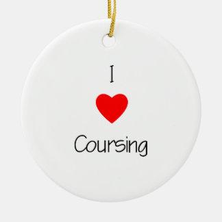 I Love Coursing Ceramic Ornament