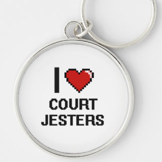 I love Court Jesters Silver-Colored Round Keychain