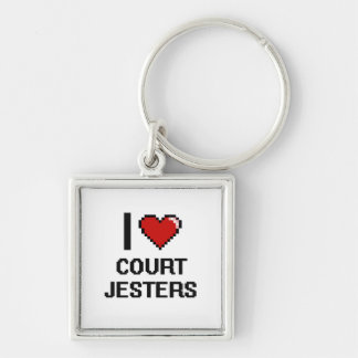 I love Court Jesters Silver-Colored Square Keychain