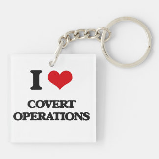 I love Covert Operations Double-Sided Square Acrylic Keychain