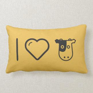 I Love Cow Heads Lumbar Pillow