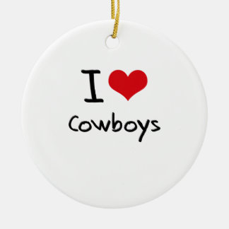 I love Cowboys Double-Sided Ceramic Round Christmas Ornament
