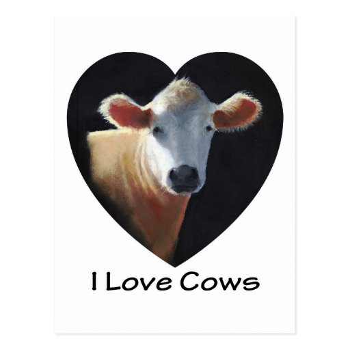 I Love Cows: Brown Cow in Oil Pastel Postcard