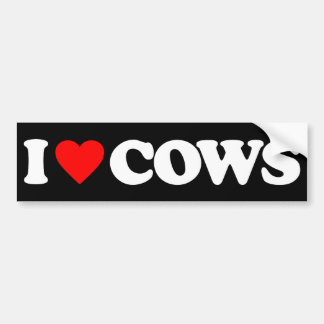 I LOVE COWS CAR BUMPER STICKER
